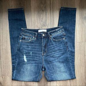 KanCan Distressed Mid Rise Skinny Jean
